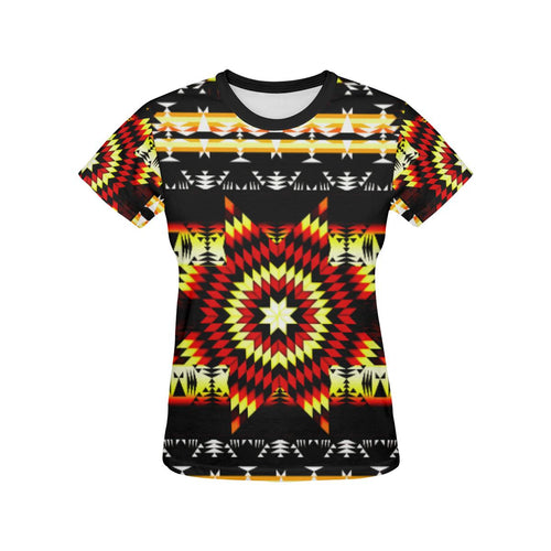 Fire Colors All Over Print T-shirt for Women/Large Size (USA Size) (Model T40) All Over Print T-Shirt for Women/Large (T40) e-joyer