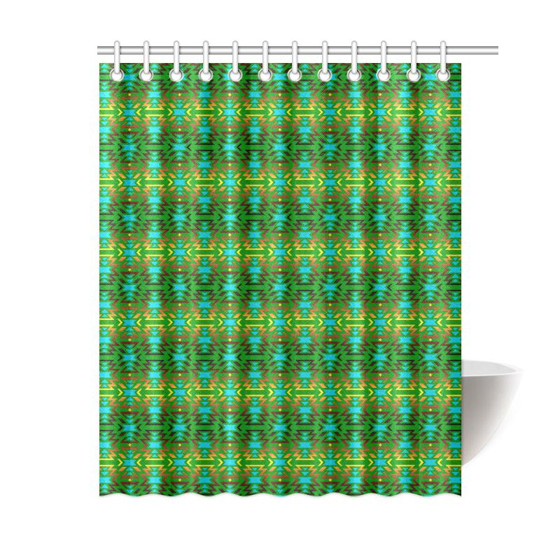 Fire Colors and Sky Green Shower Curtain 60