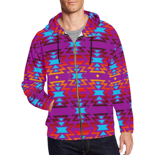 Fire Colors and Sky Moon Shadow All Over Print Full Zip Hoodie 3XL and 4XL (Model H14) All Over Print Full Zip Hoodie for Men/Large (H14) e-joyer