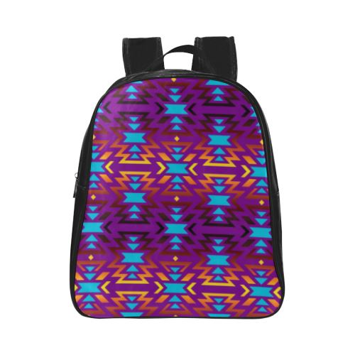 Fire Colors and Sky Moon Shadow School Backpack (Model 1601)(Small) School Backpacks/Small (1601) e-joyer
