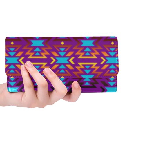 Fire Colors and Sky Moon Shadow Women's Trifold Wallet (Model 1675) Women's Trifold Wallet e-joyer