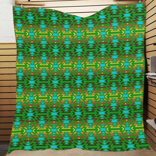 Fire Colors and Turquoise Green Quilt 70