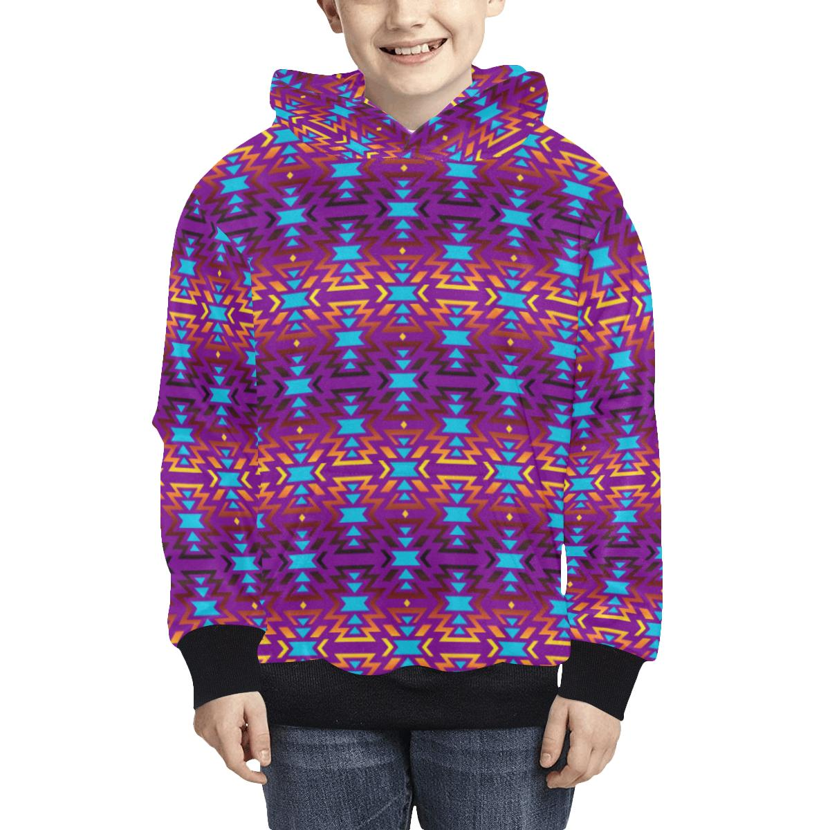 Fire Colors and Turquoise Purple Kids' All Over Print Hoodie (Model H38) Kids' AOP Hoodie (H38) e-joyer
