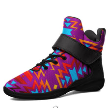 Fire Colors and Turquoise Purple Kid's Ipottaa Basketball / Sport High Top Shoes 49 Dzine US Child 12.5 / EUR 30 Black Sole with Black Strap
