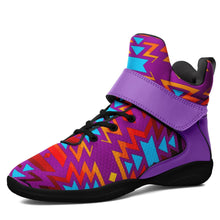 Fire Colors and Turquoise Purple Kid's Ipottaa Basketball / Sport High Top Shoes 49 Dzine US Child 12.5 / EUR 30 Black Sole with Lavender Strap