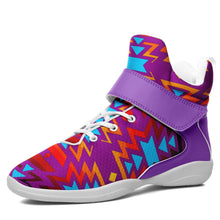 Fire Colors and Turquoise Purple Kid's Ipottaa Basketball / Sport High Top Shoes 49 Dzine US Child 12.5 / EUR 30 White Sole with Lavender Strap