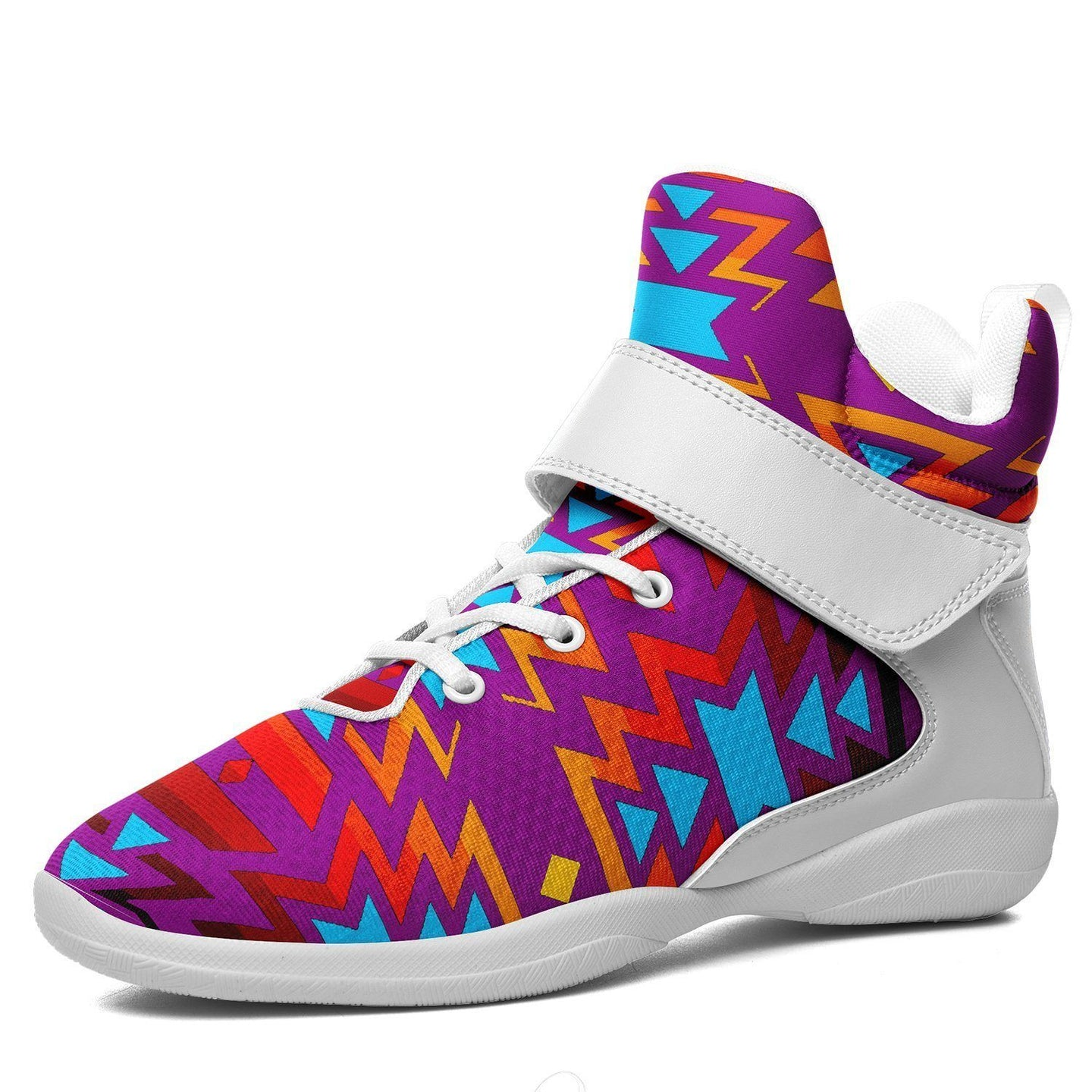 Fire Colors and Turquoise Purple Kid's Ipottaa Basketball / Sport High Top Shoes 49 Dzine US Child 12.5 / EUR 30 White Sole with White Strap