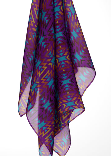 Fire Colors and Turquoise Purple Large Square Chiffon Scarf fashion-scarves 49 Dzine