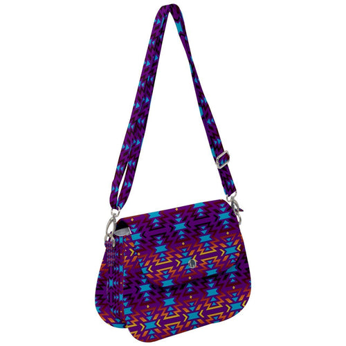 Fire Colors and Turquoise Purple Saddle Handbag cross-body-handbags 49 Dzine