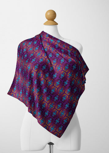Fire Colors and Turquoise Purple Satin Shawl Scarf 49 Dzine