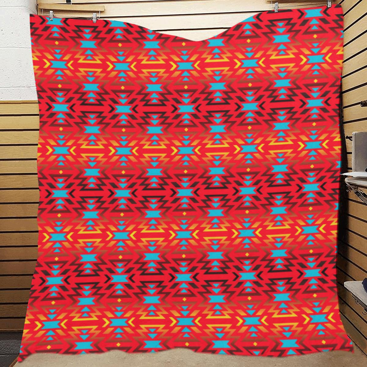 Fire Colors and Turquoise Red Quilt 70