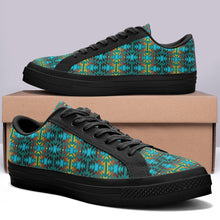 Fire Colors and Turquoise Teal Aapisi Low Top Canvas Shoes Black Sole 49 Dzine