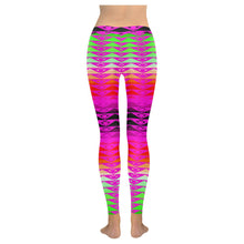 Fire Rattler Fuschia Low Rise Leggings (Model L05) Low Rise Leggings e-joyer