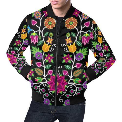 Floral Beadwork-01 All Over Print Bomber Jacket for Men/Large Size (Model H19) All Over Print Bomber Jacket for Men/Large (H19) e-joyer