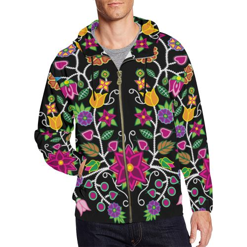 Floral Beadwork-01 All Over Print Full Zip Hoodie for Men/Large Size (Model H14) All Over Print Full Zip Hoodie for Men/Large (H14) e-joyer