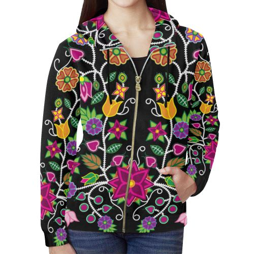 Floral Beadwork-01 All Over Print Full Zip Hoodie for Women (Model H14) All Over Print Full Zip Hoodie for Women (H14) e-joyer