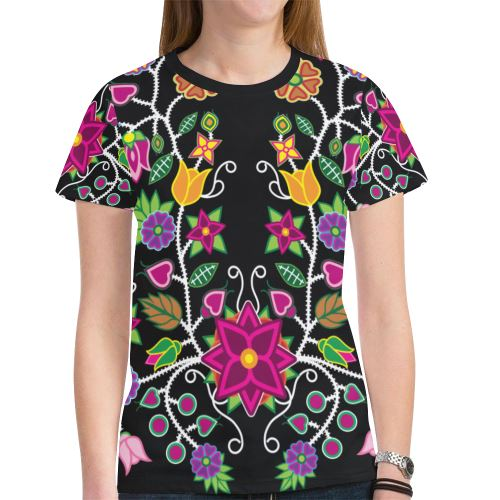 Floral Beadwork-01 New All Over Print T-shirt for Women (Model T45) New All Over Print T-shirt for Women (T45) e-joyer