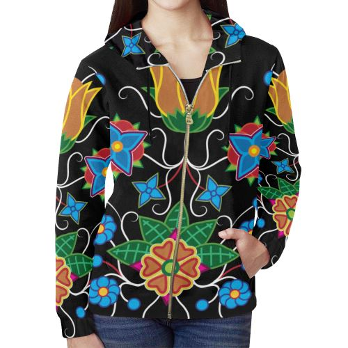 Floral Beadwork-02 All Over Print Full Zip Hoodie for Women (Model H14) All Over Print Full Zip Hoodie for Women (H14) e-joyer