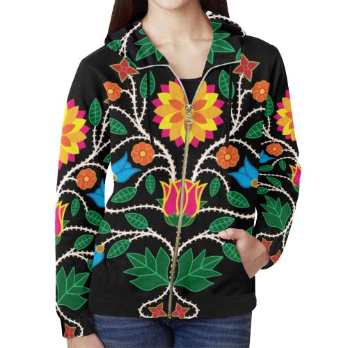 Floral Beadwork-03 All Over Print Full Zip Hoodie for Women (Model H14) All Over Print Full Zip Hoodie for Women (H14) e-joyer