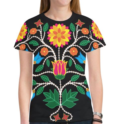Floral Beadwork-03 New All Over Print T-shirt for Women (Model T45) New All Over Print T-shirt for Women (T45) e-joyer