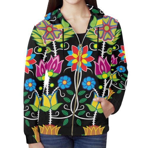 Floral Beadwork-04 All Over Print Full Zip Hoodie for Women (Model H14) All Over Print Full Zip Hoodie for Women (H14) e-joyer