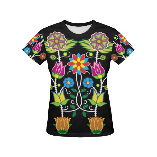 Floral Beadwork-04 All Over Print T-shirt for Women/Large Size (USA Size) (Model T40) All Over Print T-Shirt for Women/Large (T40) e-joyer