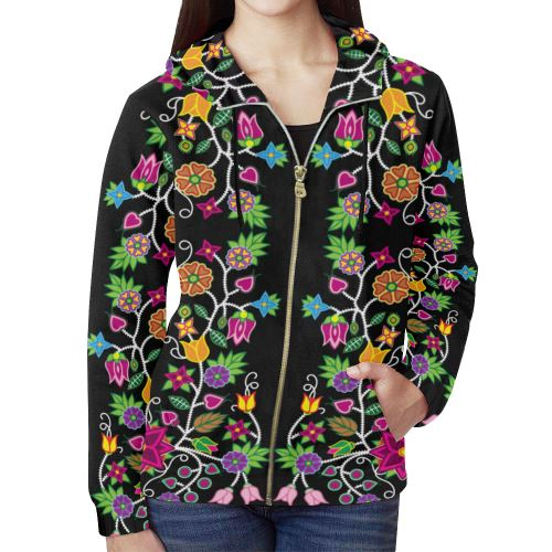 Floral Beadwork All Over Print Full Zip Hoodie for Women (Model H14) All Over Print Full Zip Hoodie for Women (H14) e-joyer