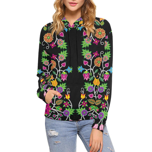 Floral Beadwork All Over Print Hoodie for Women (USA Size) (Model H13) All Over Print Hoodie for Women (H13) e-joyer