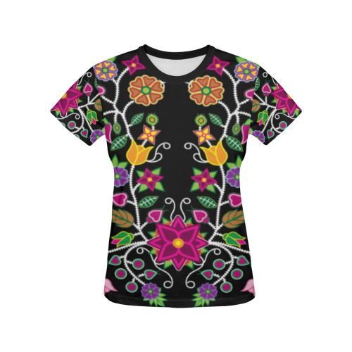 Floral Beadwork All Over Print T-shirt for Women/Large Size (USA Size) (Model T40) All Over Print T-Shirt for Women/Large (T40) e-joyer
