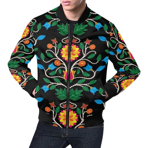 Floral Beadwork Four Clans All Over Print Bomber Jacket for Men/Large Size (Model H19) All Over Print Bomber Jacket for Men/Large (H19) e-joyer
