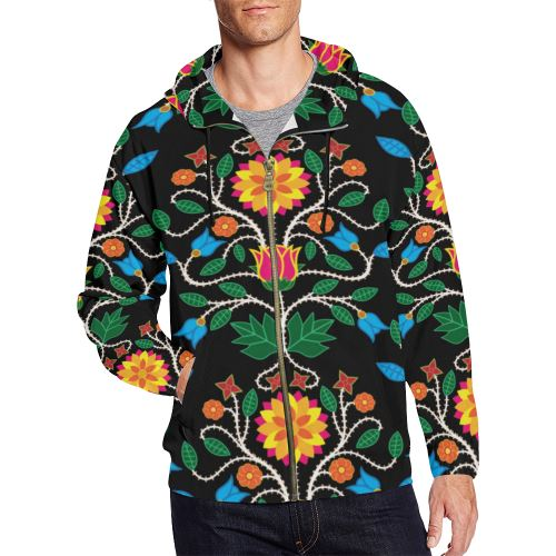 Floral Beadwork Four Clans All Over Print Full Zip Hoodie for Men/Large Size (Model H14) All Over Print Full Zip Hoodie for Men/Large (H14) e-joyer