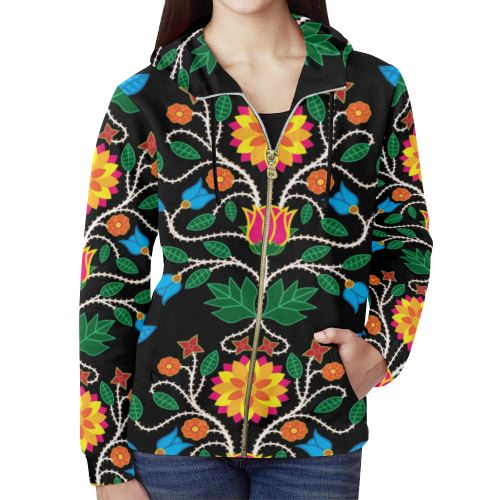Floral Beadwork Four Clans All Over Print Full Zip Hoodie for Women (Model H14) All Over Print Full Zip Hoodie for Women (H14) e-joyer