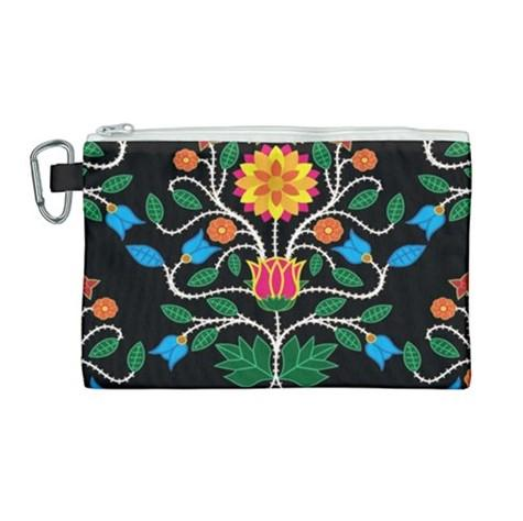 Floral Beadwork Four Clans Canvas Cosmetic Bag (Large) cosmetic-bags 49 Dzine