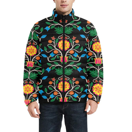 Floral Beadwork Four Clans Men's Stand Collar Padded Jacket (Model H41) Men's Stand Collar Padded Jacket (H41) e-joyer