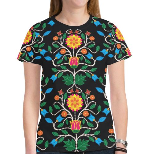 Floral Beadwork Four Clans New All Over Print T-shirt for Women (Model T45) New All Over Print T-shirt for Women (T45) e-joyer