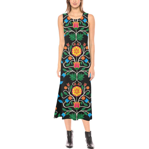Floral Beadwork Four Clans Phaedra Sleeveless Open Fork Long Dress (Model D08) Phaedra Sleeveless Open Fork Long Dress (D08) e-joyer