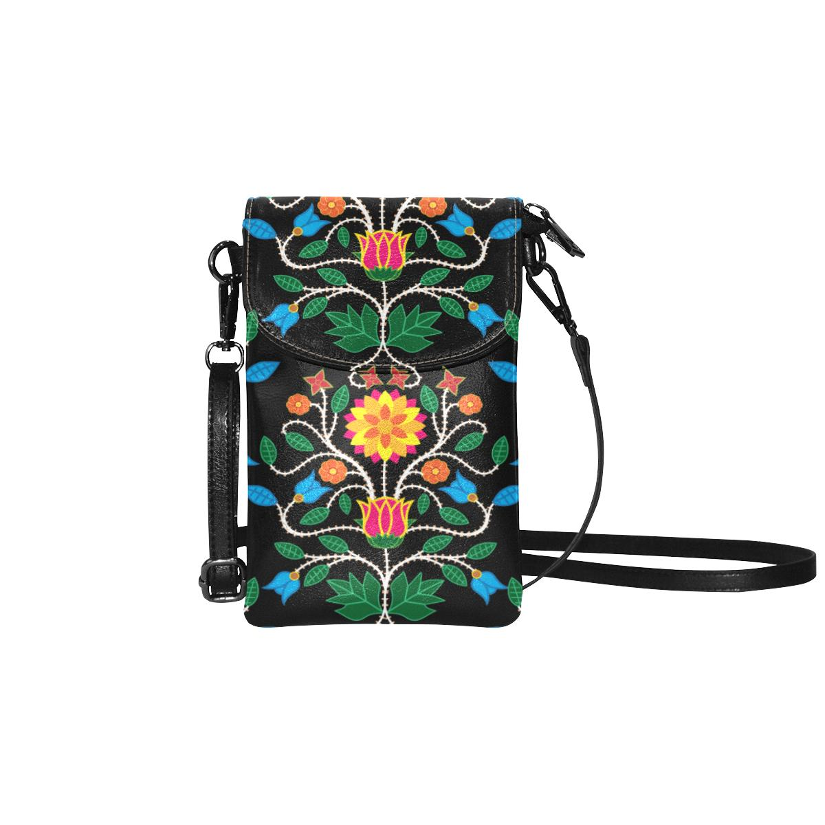 Floral Beadwork Four Clans Small Cell Phone Purse (Model 1711) Small Cell Phone Purse (1711) e-joyer