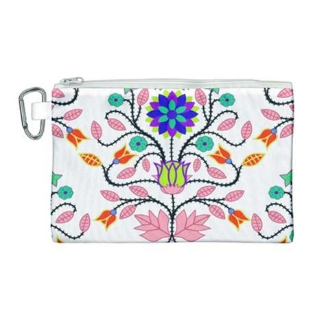 Floral Beadwork Four Clans White Canvas Cosmetic Bag (Large) cosmetic-bags 49 Dzine