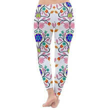 Floral Beadwork Four Clans White Classic Winter Leggings leggings-pants 49 Dzine