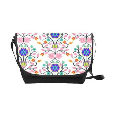 Floral Beadwork Four Clans White New Messenger Bag (Model 1667) New Messenger Bags (1667) e-joyer