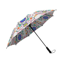 Floral Beadwork Four Clans White Semi-Automatic Foldable Umbrella Semi-Automatic Foldable Umbrella e-joyer