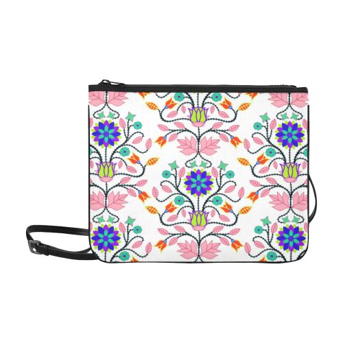 Floral Beadwork Four Clans White Slim Clutch Bag (Model 1668) Slim Clutch Bags (1668) e-joyer