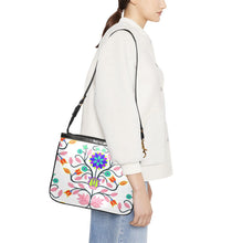 Floral Beadwork Four Clans White Small Shoulder Bag (Model 1710) Small Shoulder Bag (1710) e-joyer