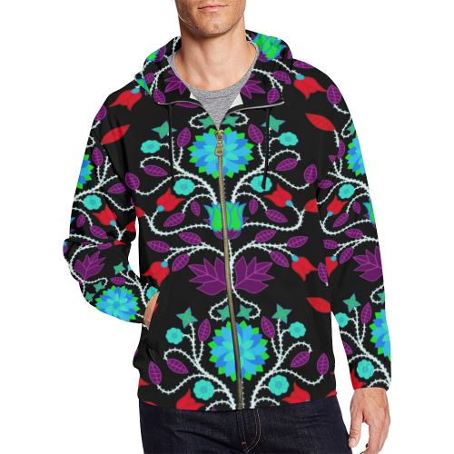 Floral Beadwork Four Clans Winter All Over Print Full Zip Hoodie for Men/Large Size (Model H14) All Over Print Full Zip Hoodie for Men/Large (H14) e-joyer