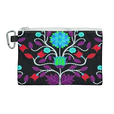 Floral Beadwork Four Clans Winter Canvas Cosmetic Bag (Large) cosmetic-bags 49 Dzine