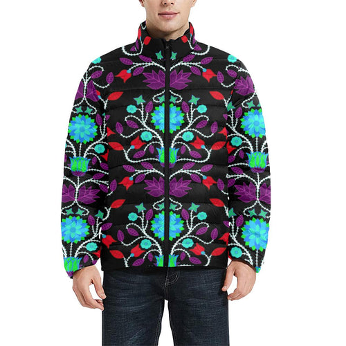Floral Beadwork Four Clans Winter Men's Stand Collar Padded Jacket (Model H41) Men's Stand Collar Padded Jacket (H41) e-joyer