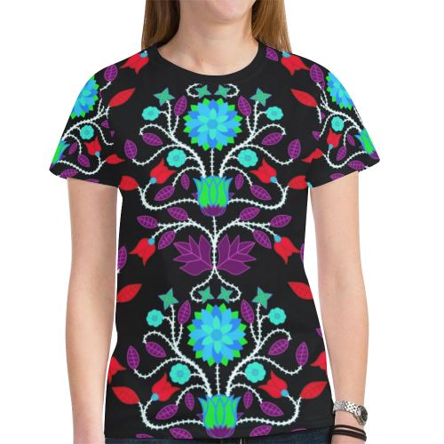 Floral Beadwork Four Clans Winter New All Over Print T-shirt for Women (Model T45) New All Over Print T-shirt for Women (T45) e-joyer