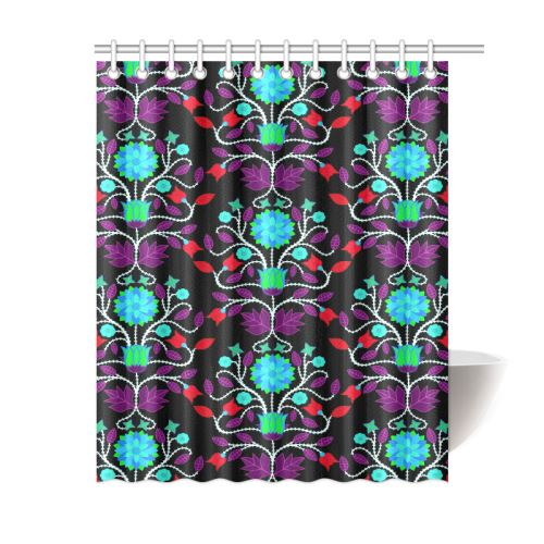 Floral Beadwork Four Clans Winter Shower Curtain 60