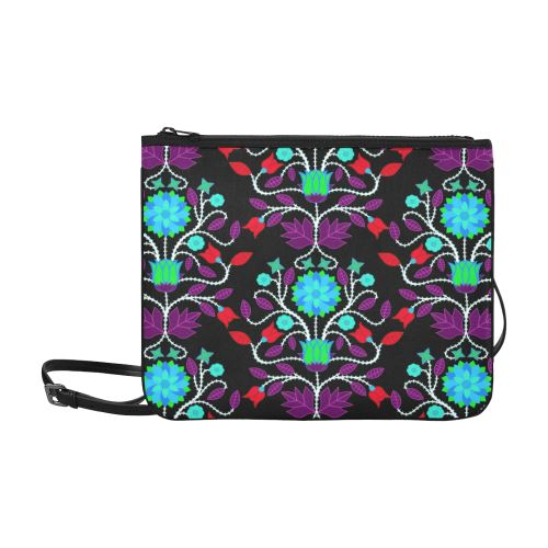 Floral Beadwork Four Clans Winter Slim Clutch Bag (Model 1668) Slim Clutch Bags (1668) e-joyer