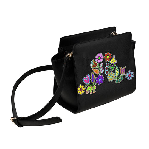 Floral Beadwork Motif Satchel Bag (Model 1635) Satchel Bag (1635) e-joyer